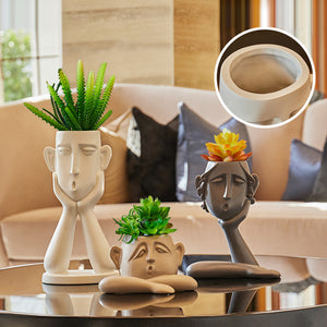 Creative Human Face Vase Statue Abstract Art Vase Home Crafts - Targen