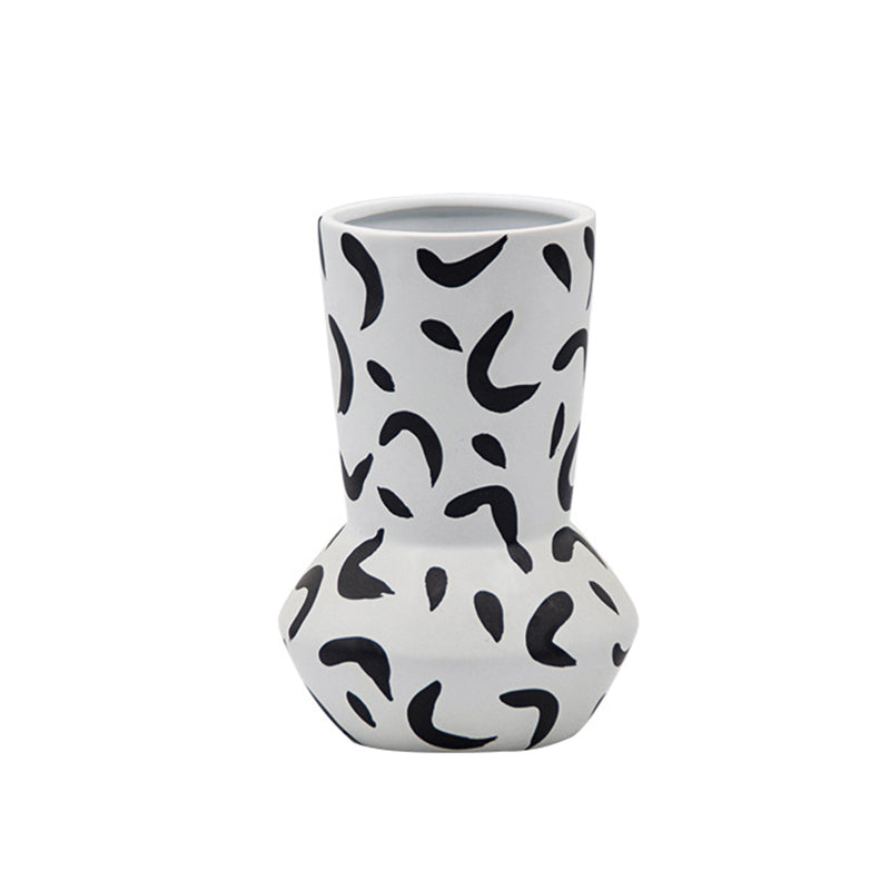 Ceramic Vase Simple Black And White Spot Flower Pot - Targen