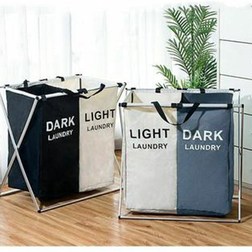 X-shape Collapsible Dirty Clothes Laundry Basket 2/3 section Foldable Organizer - Targen