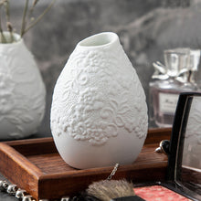 Load image into Gallery viewer, White Ceramic Bud Vase Set of 3 with Different Embossed Design Flower - Targen