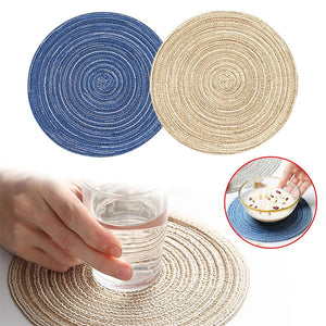 6pcs Table Placemats Round Cutlery Washable Drink Cup Coasters - Targen