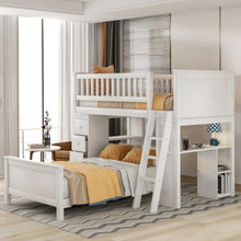 Load image into Gallery viewer, Twin over Twin Bed with Drawers and shelves - Targen