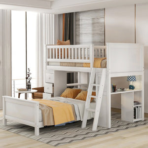 Twin over Twin Bed with Drawers and shelves - Targen