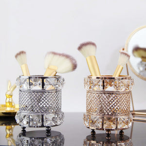 Makeup Brush Holder Brass Vintage Crystal Makeup Brush Organizer - Targen