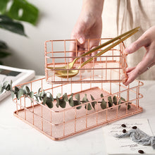 Load image into Gallery viewer, Rose Gold Iron Art Makeup Organizer Metal Basket - Targen
