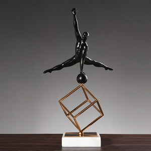Modern Creative Gymnastic Figure Ornament Geometric Wrought Iron Model - Targen