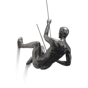 Wall Hanging Sculpture Industrial Style Climbing Man Resin Iron Wire Retro Figures - Targen