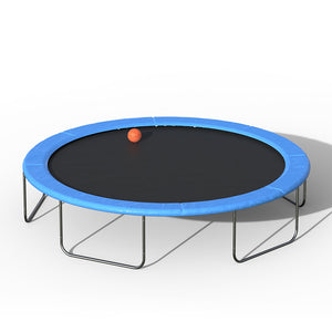 15FT Blue Round Safety Trampoline with Basketball Hoop and Ladder