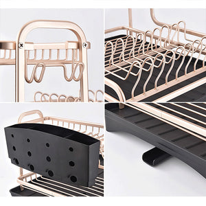 Aluminium Alloy Dish Rack Kitchen Organizer Storage Drainer Drying Plate - Targen
