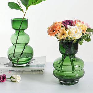 Vintage Small Green Glass Flower Vases Decorative Centerpieces
