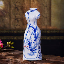 Load image into Gallery viewer, Ceramic Crafts Ornaments Creative Blue And White Porcelain Cheongsam Vase - Targen