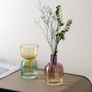 Geometric Transparent Contrast Colored Glass Vase