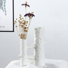 Load image into Gallery viewer, White Ceramic Vase Crafts Ornaments Geometric Digital Vase - Targen