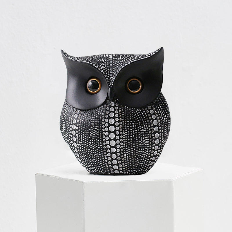 Minimalist Handicraft Black And White Owl Animal Figures - Targen