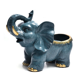 Elephant Figurine Cute Desk Animal Sculpture Storage Box - Targen