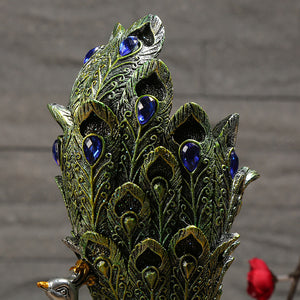 Candle Holder Resin Peacock Gardening Ornament - Targen