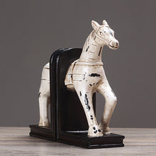 Load image into Gallery viewer, White Horse Bookend Nordic Retro Creative Book Stand Decoration - Targen