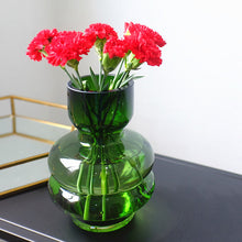 Load image into Gallery viewer, Vintage Small Green Glass Flower Vases Decorative Centerpieces