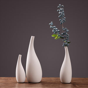 Pure White Vegetarian Desktop Ceramic Dried Flower Vase - Targen
