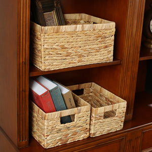 Desktop Natural Straw Rectangular Storage Basket - Targen