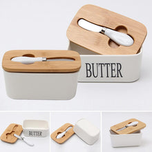 Load image into Gallery viewer, Butter Box With Wood Lid Ceramic Sealing Tool Container - Targen