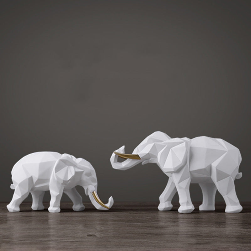 Elephant Figurine 2/set Resin For Home Office Hotel Decoration - Targen