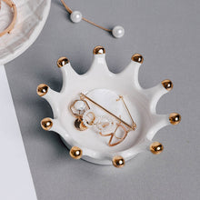 Load image into Gallery viewer, Crown Painting Gold Ceramic Small Dish Jewelry Storage Tray - Targen