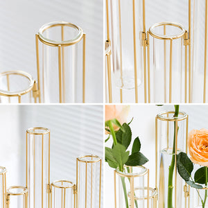 Targen Gold Frame Test Tube Glasses Cylinder Vase