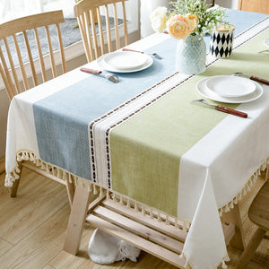 Linen Tablecloth With Tassel Waterproof Oilproof Thick Table Cloth - Targen