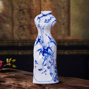 Ceramic Crafts Ornaments Creative Blue And White Porcelain Cheongsam Vase - Targen