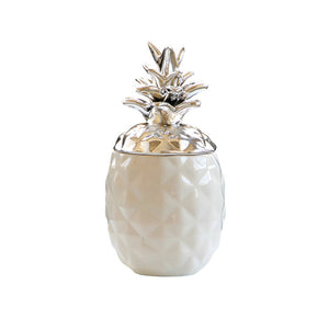 Golden Silver Ceramic Pineapple Storage Jar Cute Decorative Jewelry Storage - Targen