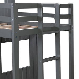 Wooden Twin Over Full Bunk Bed Loft Bed with Playhouse
