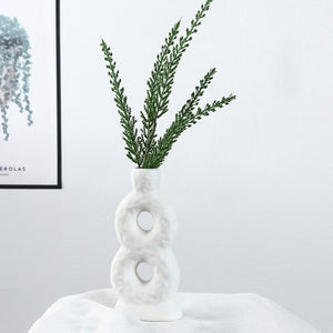 White Ceramic Vase Crafts Ornaments Geometric Digital Vase - Targen