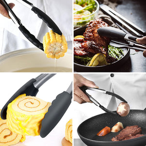 Black Kitchen Silicone Tong Non-Stick Stainless Steel Grill Salad Serving Tong - Targen