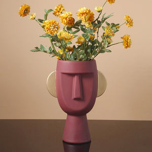 Creative Ceramic Flower Pot Human Face Vase Figure Plant Holder - Targen