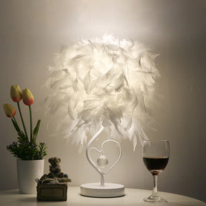 Table Lamp Led Feather Heart Wing Crystal Lighting Heart-Shaped Gift Lamp - Targen