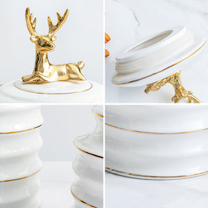 Ceramic Container With Airtight Deer Lid For Treats And Food - Targen