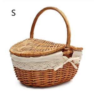 Picnic Basket Hand Made Wicker Bags Camping Fruit Storage Basket - Targen