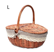 Load image into Gallery viewer, Picnic Basket Hand Made Wicker Bags Camping Fruit Storage Basket - Targen