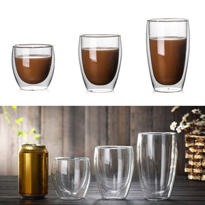 Double Coffee Mugs With the Handle Mugs Drinking Insulation Double Wall Glass - Targen
