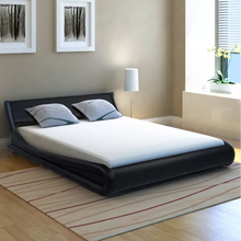 Load image into Gallery viewer, Bed Frame 5FT King Size Artificial Leather Curl Black Simple Bed Base - Targen