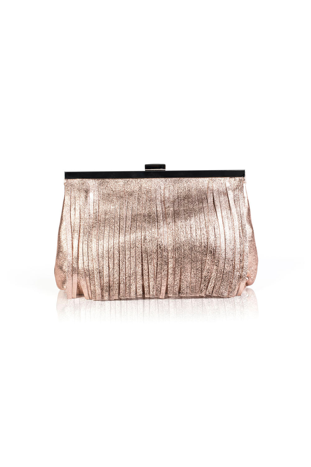 Leather Fringe Bag - Pink