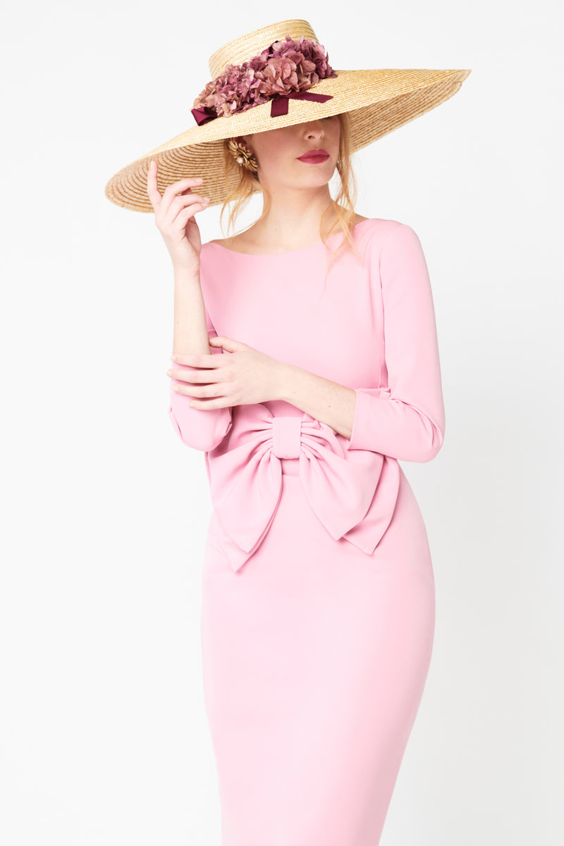Win short guest dress - Pink - Crew neck with maxi bow