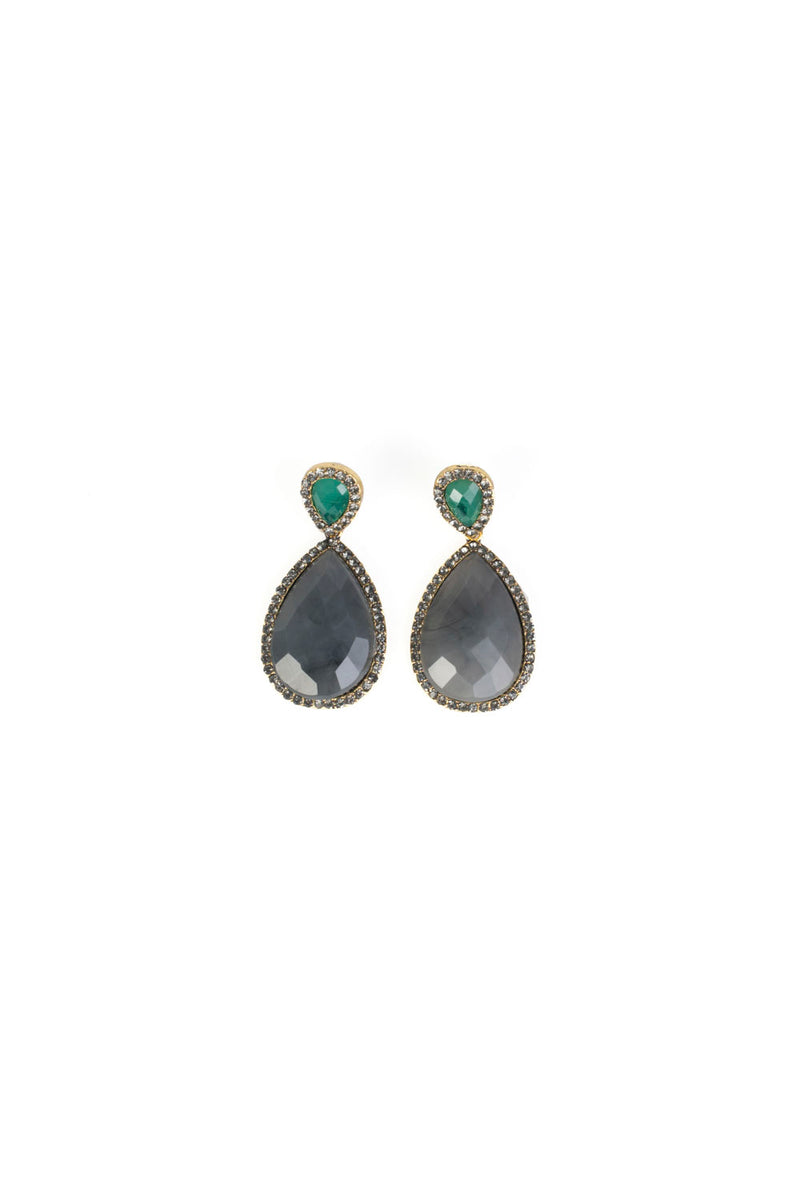 Rhinestones Earrings - Gray