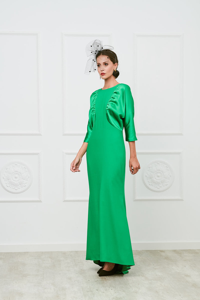 Long godmother dress Balmes - Green Grass - with train