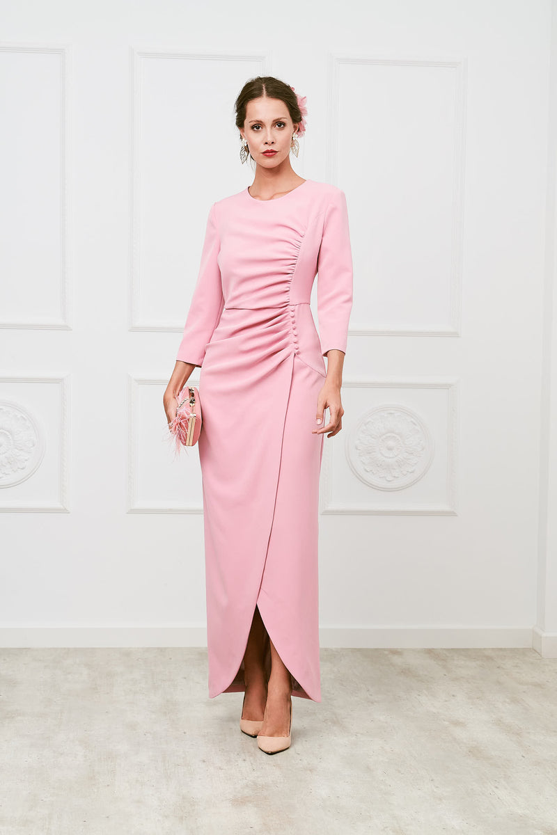Robe longue marraine Beth II - Rose - s'adapte au corps - Manches longues
