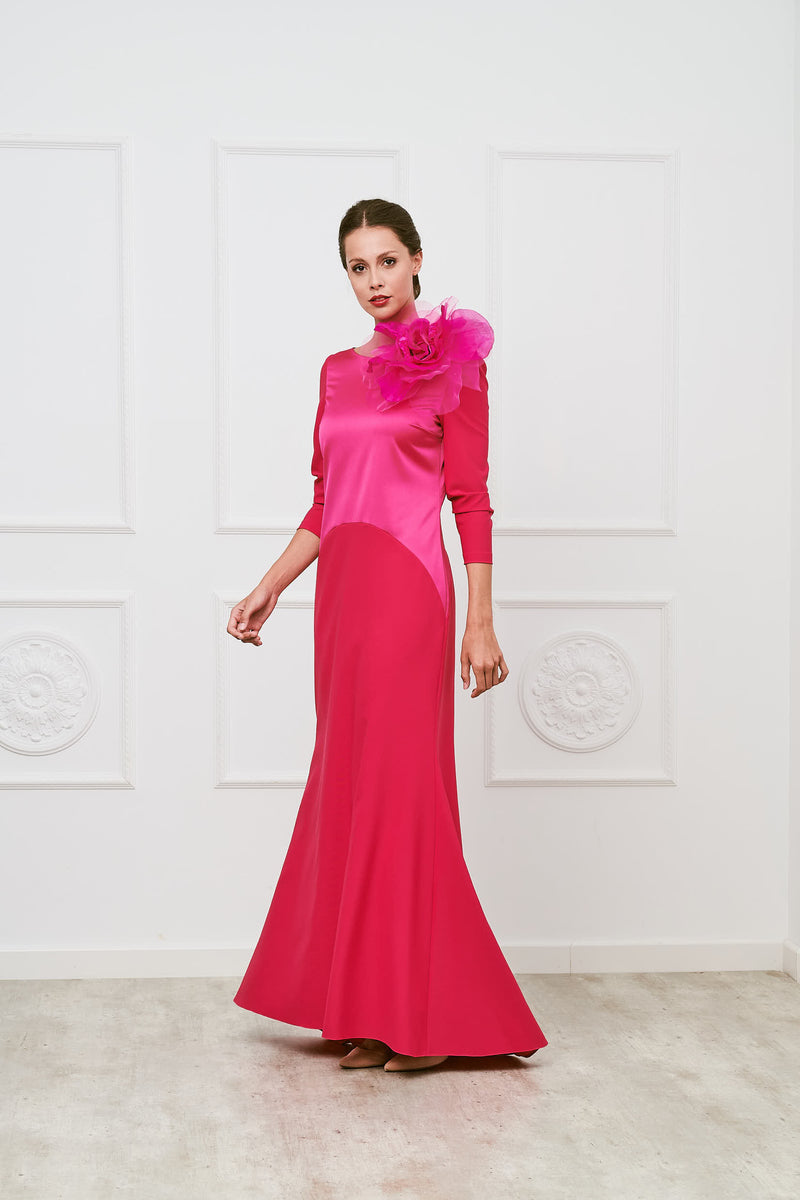 Borsai long godmother dress - Fuxia - Boat neckline - Long sleeves