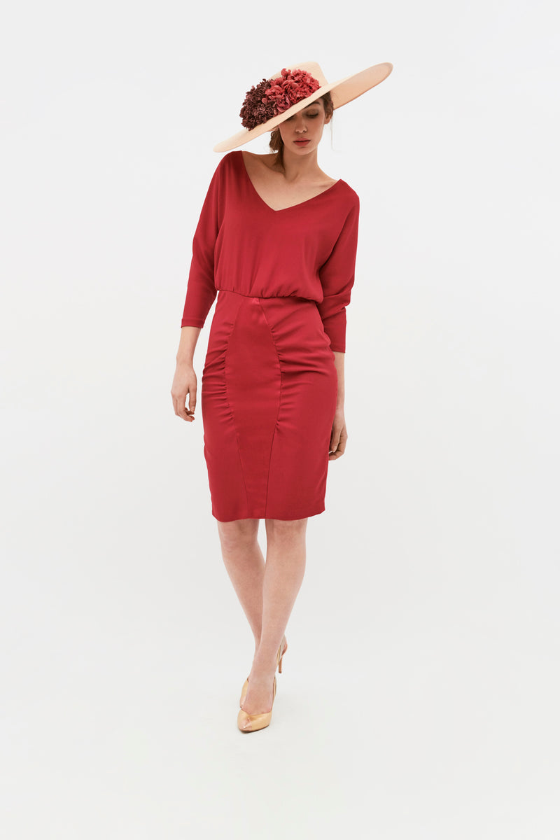 Vestido Pippa Color Block - Granate