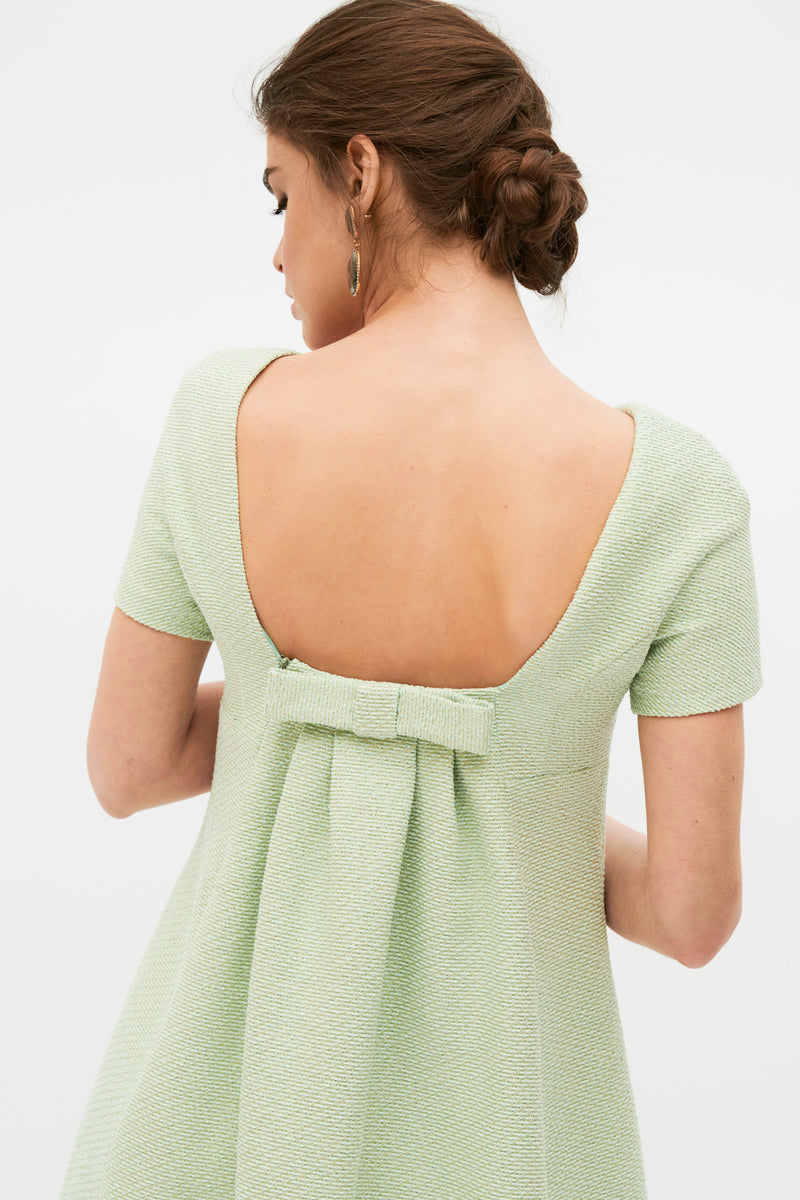 Olga flared cocktail dress - Lime Green - Square neckline at the back