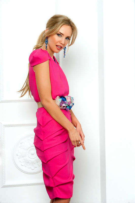 Draped S / M Dress - Fuxia Pink